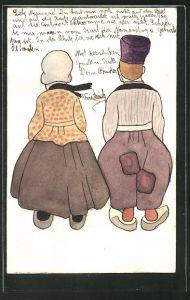 Künstler-AK Handgemalt: Frau in Tracht und Mann mit Mütze in Holzschuhen
