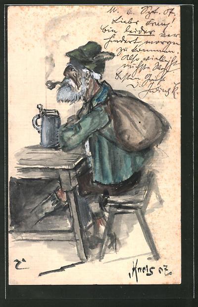 Künstler-AK Handgemalt: Mann mit Bart und Tabakpfeife am Tisch
