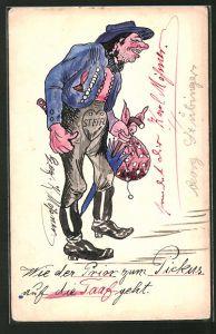 Künstler-AK Handgemalt: Mann mit Schirm, Beutel und Hut