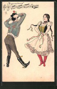 Künstler-AK Handgemalt: Frau in Tracht mit Zöpfen und Mann mit Hut am Tanzen