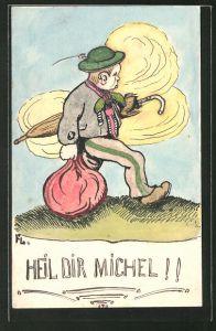 Künstler-AK Handgemalt: kleiner Junge mit Hut, Schirm und Beutel