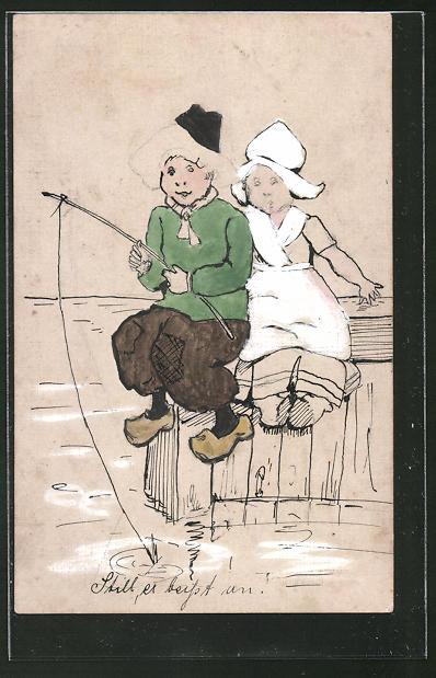 Künstler-AK Handgemalt: Kleines Holländer Paar in Tracht beim Angeln