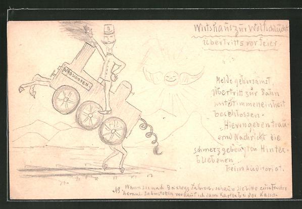 Künstler-AK Handgemalt: Lokführer sitzt auf einer Lokomotive mit Hufen & im Hintergrund eine Sonne mit Flügeln
