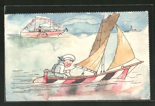 Künstler-AK Handgemalt: Segelboot mit einem Jungen in Matrosenuniform