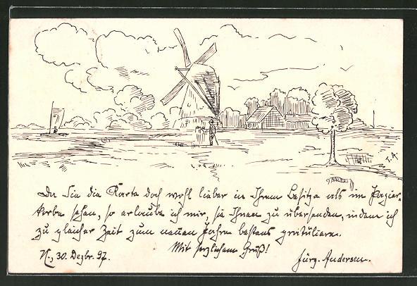 Künstler-AK Handgemalt: Totalansicht mit Blick zu einer Windmühle