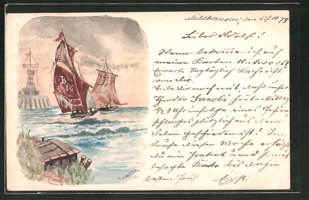 Künstler-AK Handgemalt: Segelschiffe vor Leuchtturm