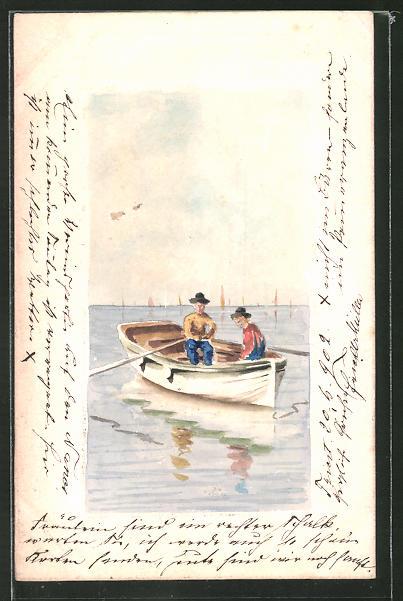 Künstler-AK Handgemalt: zwei Männer in Ruderboot