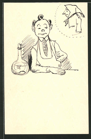 Künstler-AK Handgemalt: Mann sitzt an einem Tisch und denkt an eine Frau
