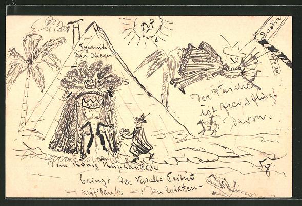 Künstler-AK Handgemalt: König kommt aus einer Pyramide