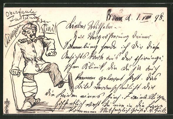 Künstler-AK Handgemalt: Soldat mit verbundenem Knie und Gehstock
