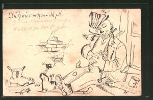 Künstler-AK Handgemalt: schlafender Mann mit verrutschtem Hut und Blume im Mund