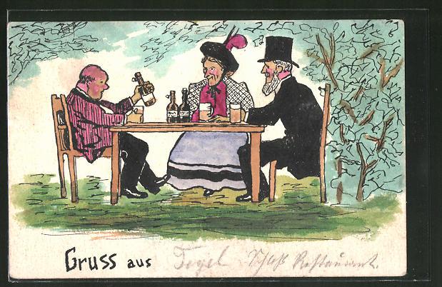 Künstler-AK Handgemalt: Männer und eine Frau am Tisch mit Bierkrügen