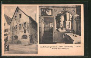 AK Rothenburg / Tauber, Gasthof zum goldenen Lamm, Aussenansicht und Speisezimmer