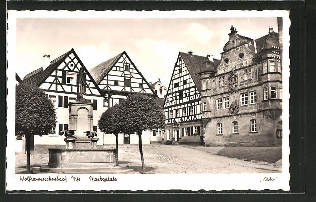 AK Wolframseschenbach / Mfr., Denkmal am Marktplatz