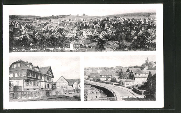 AK Ober-Ramstadt, Siedlung aus der Vogelschau, an der Apotheke, Darmstädter Strasse