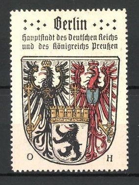 Reklamemarke Wappen von Berlin, Hauptstadt des deutschen Reiches und des Königreichs Preussen