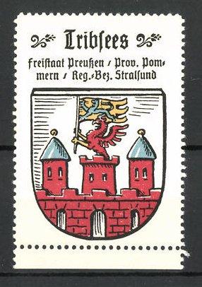 Reklamemarke Wappen von Tribsees, Freistaat Preussen, Prov. Pommern, Reg. Bez. Stralsund