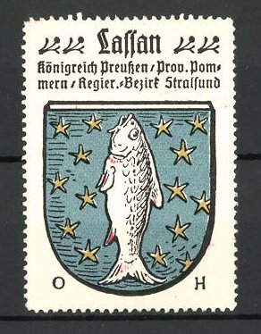 Reklamemarke Wappen von Lassan, Königreich Preussen, Prov. Pommern, Reg.-Bez. Stralsund