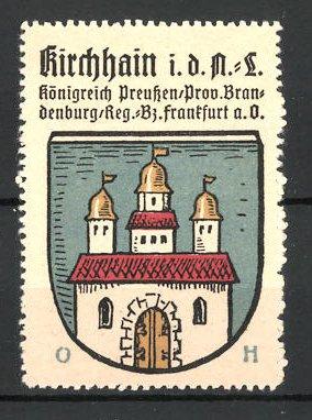 Reklamemarke Wappen von Kirchhain, Königreich Preussen, Prov. Brandenburg, Reg.- Bez. Frankfurt a. O.