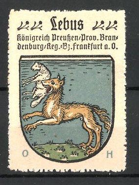 Reklamemarke Wappen von Lebus, Königreich Preussen, Prov. Brandenburg, Reg.- Bez. Frankfurt a. O.