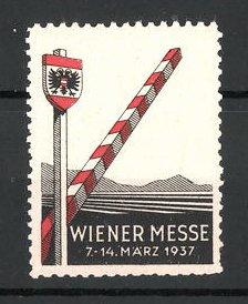 Reklamemarke Wien, Wiener Messe 1937, Grenzpfahl mit Alpenpanorama
