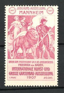 Reklamemarke Mannheim, internationale Kunst-und grosse Gartenbau-Ausstellung 1907, Streitwagen mit Löwen und Adler