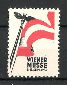 Reklamemarke Wien, Wiener Messe 1936, österreichische Flagge