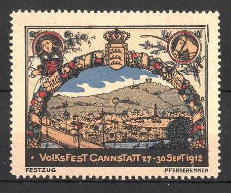 Reklamemarke Cannstatt, Volksfest 1912, Blick auf das Festgelände und Wappen