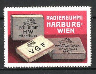 Reklamemarke Radiergummi der Firma Harburg-Wien, verschiedene Radiergummi
