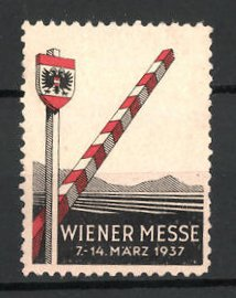 Reklamemarke Wien, Wiener Messe 1937, Grenze mit Grenzpfahl