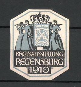 Reklamemarke Regensburg, Kreisausstellung 1910, Frauen tragen Krone und Wappen