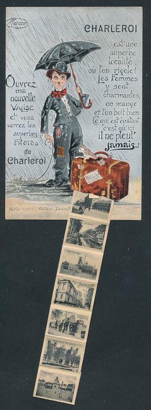 Leporello-AK Charleroi, Schauspieler Charlie Chaplin mit Koffer, Ansichten von Bahnhof, Kaserne und Rue Pont Neuf