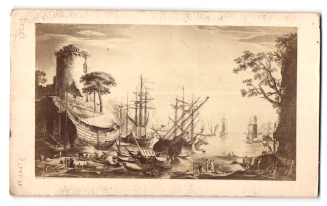 Fotografie Giacomo Brogi, Firenze, Gemälde von unbek. Künstler, mittelalt. Hafenszene