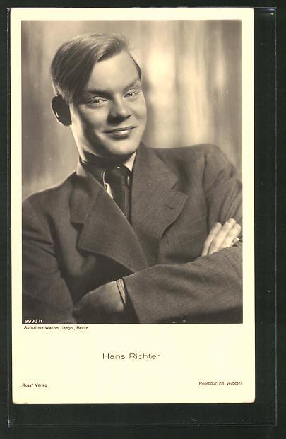 AK Schauspieler Hans Richter im Anzug porträtiert