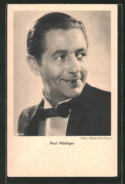 AK Schauspieler Paul Hörbiger lächelnd zur Seite blickend