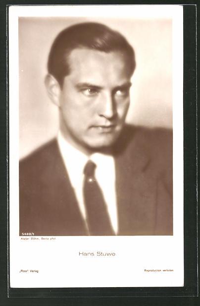 AK Schauspieler Hans Stüwe im Anzug porträtiert