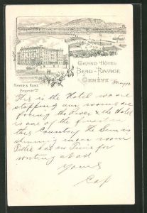 Lithographie Geneve, Grand Hotel Beau-Rivage, Mayer & Kunz Propriet