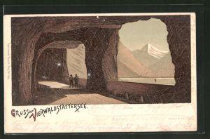Lithographie Axenstrasse, Blick auf den Vierwaldstättersee