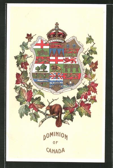 Präge-AK Canada, Canadische Wappen, Biber und Ahornlaub