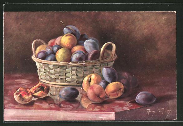 Künstler-AK Mary Golay: Stilleben mit Aprikosen und Pflaumen