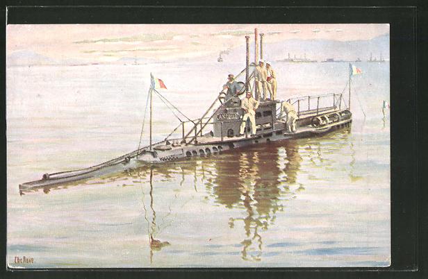 Künstler-AK Christopher Rave: U-Boot