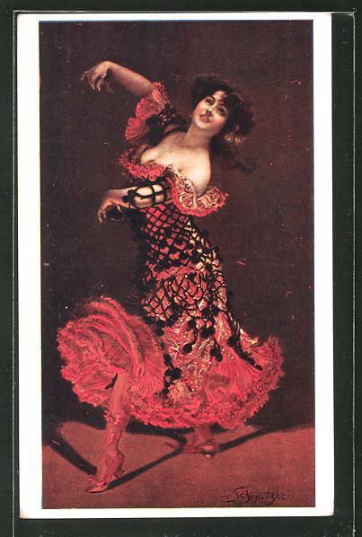 Künstler-AK Leopold Schmutzler: Rassige Flamencotänzerin