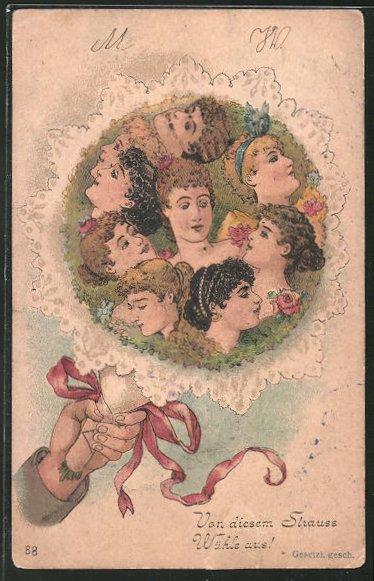 Vorläufer-Lithographie Damen als Blumen in einem Strauss, 1893,