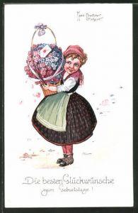 Künstler-AK Hans Boettcher: Mädchen bringt Blumen und Post,