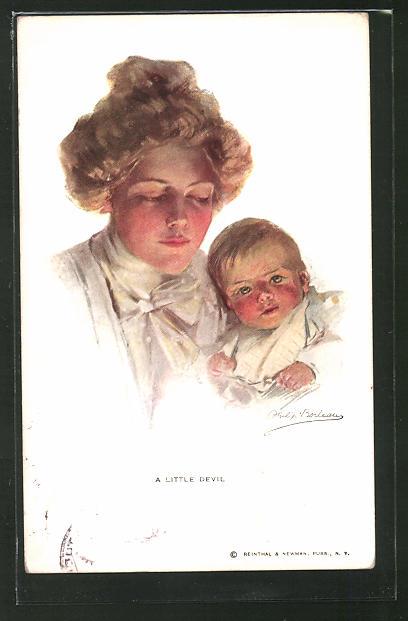Künstler-AK Philip Boileau: A little Devil. Mutter mit Kleinkind auf dem Arm