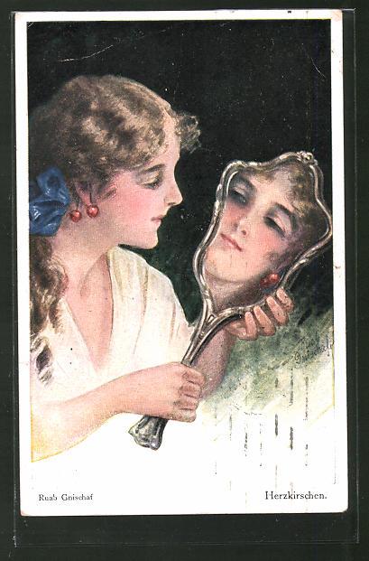 Künstler-AK Ruab Gnischaf: Herzkirschen. Mädchen betrachtet sich im Spiegel