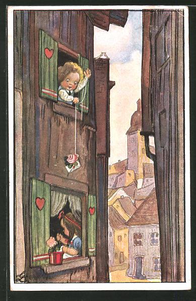 Künstler-AK Liesel Lauterborn: Junge verschickt Liebesbrief an das Nachbarmädel