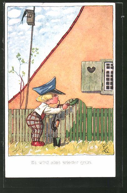 Künstler-AK Liesel Lauterborn: Junge streicht den Zaun,