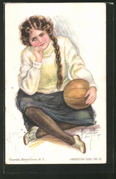 Künstler-AK Alice Luella Fidler: American Girl No. 12, Mädchen mit Basketball
