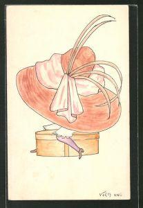 Künstler-AK Handgemalt: kleine Frau mit riesigem Hut